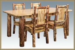 Amish Log Dining Room Set 6 ft Kitchen Table and 4 Chairs Lodge Cabin Furniture
