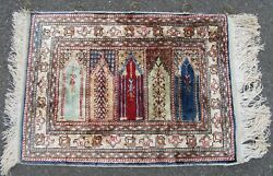 A FINE QUALITY TURKISH SILK RUG  100% SILK ON SILK TURKISH RUG  COST £300 IN 90S