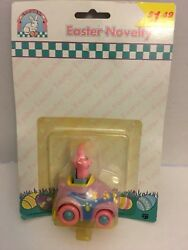 1999 ATICO INTERNATIONAL EASTER NOVELTY PINK EASTER BUNNY RABBIT in PURPLE CAR $6.99