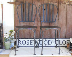 Antique Garden Bistro Perforated Iron Chair Set Metal Fermob French Country Cafe