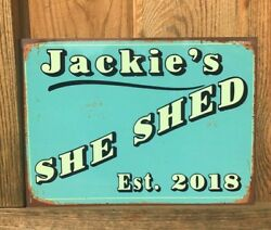 Any Name Personalized She Shed  Craft Room Aluminum Vintage Looking Sign 2 Sizes