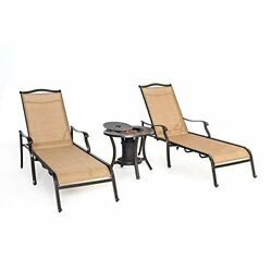 Hanover MONCHS3PC-URN Monaco Chaise Lounge Chairs and One Fire Urn (Set of 2)