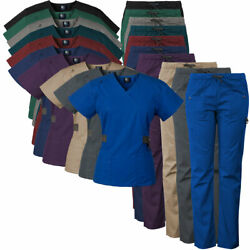 Medgear Women#x27;s 12 Pocket Scrub Set with Silver Snap Detail amp; Contrast Trim 7897 $18.99