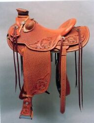 full carving and tooling on western leather saddle 16