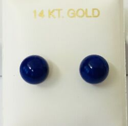 14K Yellow Gold Natural Lapis 8mm Ball Stud Earrings NEW