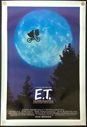 E.T. The Extra Terrestrial Original Movie Poster Linen Backed Bicycle Style C9