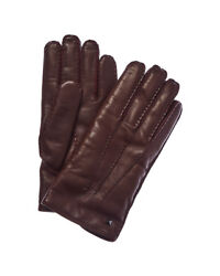 Valentino Mens  Studded Cashmere-Lined Leather Gloves Red
