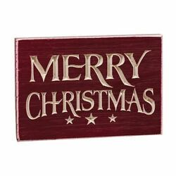 Merry Christmas Engraved Wood Block Sign Rustic Country Christmas Decor $10.21
