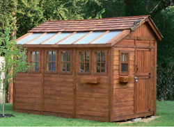 Outdoor Storage Shed Kit Large Buildings Garden Wooden Greenhouse Cedar Windows