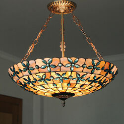 20quot;Tiffany Style Stained Glass Pendant Lamp Handcrafted Drum Chandelier Light $179.00