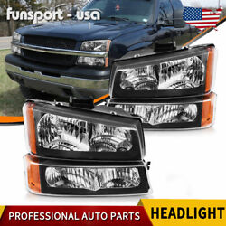 FOR 2003 2006 CHEVY SILVERADO BLACK HOUSING AMBER SIDE HEADLIGHTS LAMP ASSEMBLY $68.01