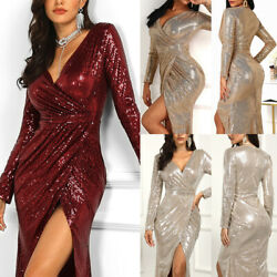 US Elegant Women Shiny Sequin Maxi Long Cocktail Dress Evening Party Gown Dress