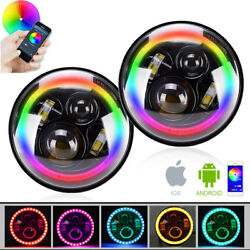 RGB Color-Changing LED Angel Eyes Remote Controller Headlight Projector Fit JEEP