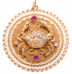 Vintage 14k Gold Cancer Crab Zodiac Sign Pendent Featuring Diamonds and Rubies