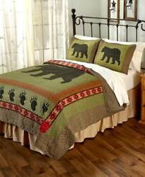 3-Pc. Black Bear Quilt Set Woodland Cabin Bedroom Decor FullQueen Or King Size