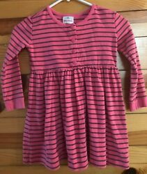 Hanna Andersson Play Dress  Day Dress Girls Pink wBrown Stripes Size 110 5-6