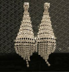 14k White Gold Dangle Chandelier Clip Earrings made w Swarovski Crystal Stone $49.55