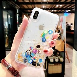 Quicksand Gold Phone case for iPhone 7 8 Dynamic Liquid Hard PC $12.99