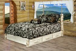 LOG Platform Storage Bed with Drawers Amish Made Full Size Rustic Log Beds Cabin