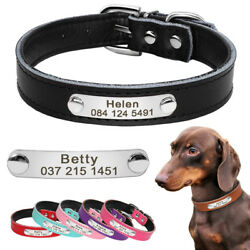 Faux Leather Dog Collar Personalized Engraved Pet Name Dog Collars Pink Blue Red $6.99