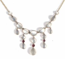 18ct Edwardian Moonstone And Ruby Necklace