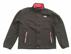 THE NORTH FACE Men's Medium Outdoor TKA Stealth Fleece Full Zip Jacket Black Red