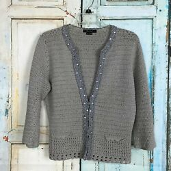 Women's ECI NEW YORK  Gray Cardigan Sweater Size M Crocheted with Silver Trim