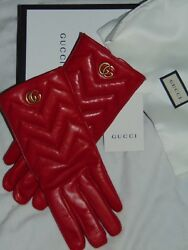 $ 630 NEW! Gucci GG Marmont Chevron Cashmere Hibiscus Red Leather Gloves 7 Italy