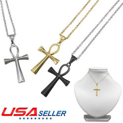 1x Stainless Steel Coptic Ankh Cross Men's Women's Pendant Necklace High Quality