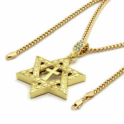 Mens 14k Gold Plated Star of David Cross Pendant 30quot; inches Cuban Necklace Chain $12.99