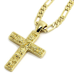 Mens 14K Gold Plated Nugget Cross Pendant Hip Hop 5mm 24quot; Figaro Chain $13.99