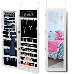 Jewelry Cabinet Large Capacity Storage Organizer Shelves Wall Mounted W Mirror