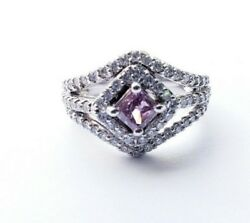 1.33 CTW Radiant Cut 100% Natural Fancy Pink Purple Diamond Ring - GIA Certified