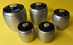 Set of 5 Vintage Kromex Brushed Aluminum Kitchen Canisters ~ Original 1950s