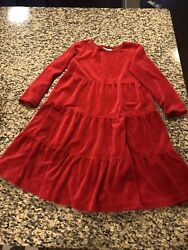 WORN ONCE Hannah Andersson Girls' Red Velour Dress Holiday Christmas 110 5 6
