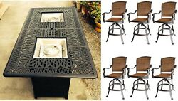 Bar height fire pit table set propane 7 piece cast aluminum outdoor wicker patio