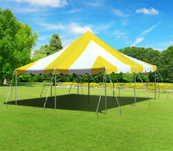 20'x20' Yellow White Pole Tent Wedding Event Canopy Commercial Waterproof Vinyl
