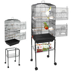 59#x27;#x27; Rolling Bird Cage Parakeet Finch Budgie Conure Lovebird House with Stand $64.99