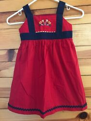 Hanna Andersson Red Dress Girls Navy Trim with Ric-Rac Detail Size 110 5-6