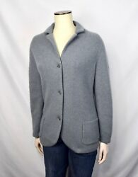 Loro Piana 100% Baby Cashmere Thick Cardigan Blue Sweater Women's 48 Large L