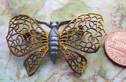 Vintage 29 x 44mm Two Tone Metal Butterfly Pin Brooch
