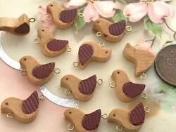 Vintage 10 x 15mm Wood Wooden Bird Charms Connector Beads 12