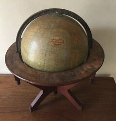 Antique 1891 Rand McNally & Co Twelve Inch Terrestrial Globe On Tripod Stand