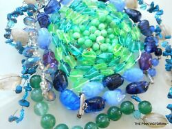 VINTAGE NECKLACE CRAFT LOT~ ALL GLASS~ GORGEOUS BEADS~REPURPOSE~JEWELRY