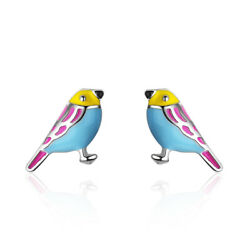 Ladies 925 Sterling Silver Cute Epoxy Little Bird Ear Stud Earrings Jewelry
