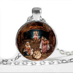 Christmas Jewelry The birth of Jesus Pendant Necklace Christmas Gift Handmade