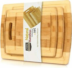 Bamboo Cutting Boards for Kitchen Set of 3 Chopping Boards by Utopia Kitchen $16.99