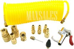 12pc Air Compressor Tire Hose Kit Inflate Accessory Piece Nozzles Recoil Set