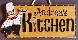 Personalize FAT CHEF KITCHEN SIGN Wall Name Plaque Cucina Bistro Italian Decor $14.45
