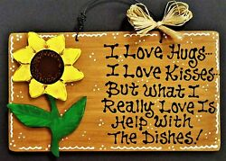 SUNFLOWER Hugs Kisses Dishes KITCHEN SIGN Wall Art Hanger Plaque Country Decor $13.95